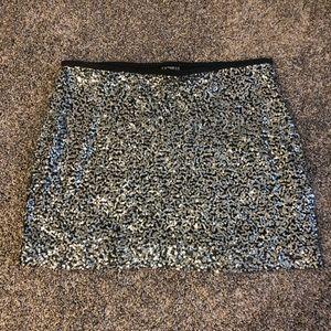 Express Silver Sequin Mini Skirt